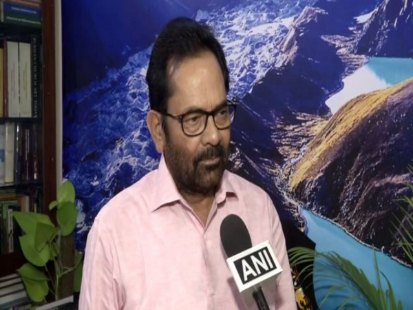 Union Minister Mukhtar Abbas Naqvi speaking to ANI in New Delhi on Sunday.