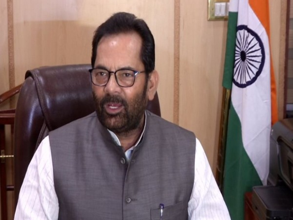 Mukhtar Abbas Naqvi talking to media persons after assuming charge as Minority Affairs Minister on Friday