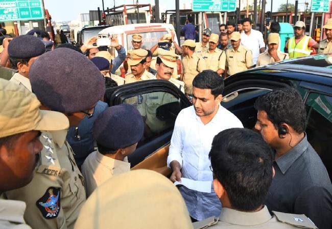 TDP general secretary Nara Lokesh deained by police in Andhra Pradesh on Friday.