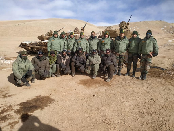 Army chief Gen MM Naravane with troops near LAC in Eastern Ladakh on Wednesday.
