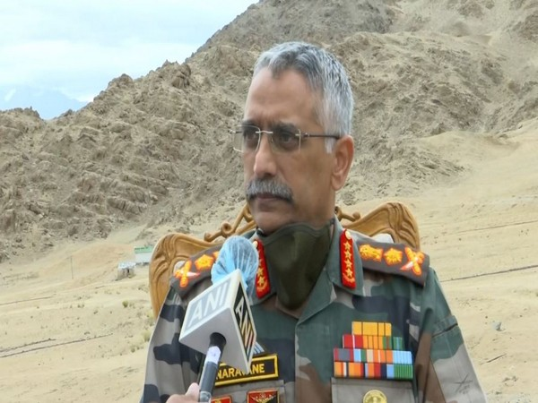 Army Chief MM Naravane speaking to ANI in Leh on Friday. Photo/ANI