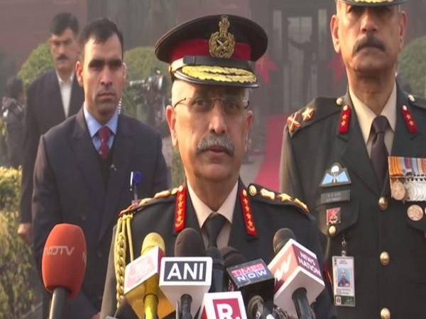 Lieutenant General MM Naravane speaking to reporters in New Delhi on Wednesday. Photo/ANI