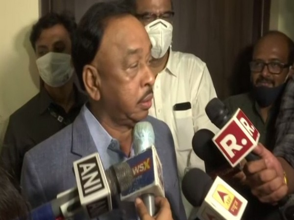 BJP leader Narayan Rane speaking to media on Monday.