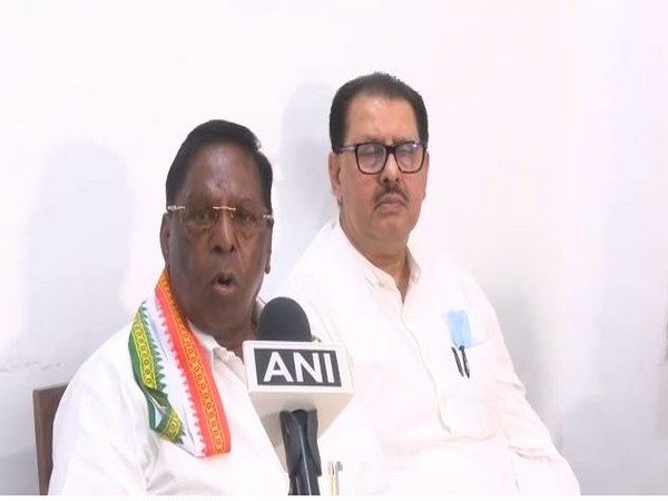 Chief Minister V Narayanasamy speaking to ANI in Puducherry on Tuesday.