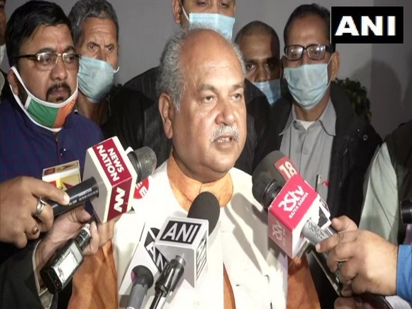 Union Agriculture Minister Narendra Singh Tomar talking to media in New Delhi on Wednesday. (Photo/ANI)
