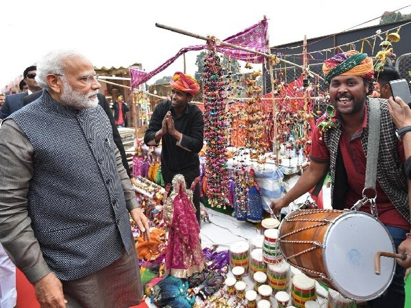 Prime Minister Narendra Modi visiting Hunar Haat in New Delhi on Wednesday.