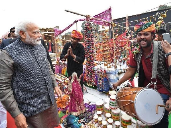 PM Narendra Modi at Hunar Haat in New Delhi [Photo/ANI]