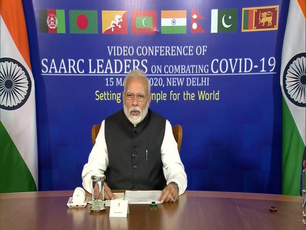 Prime Minister Narendra Modi speaking at the video conference of SAARC leaders on combating COVID-19 in New Delhi on Sunday. Photo/ANI