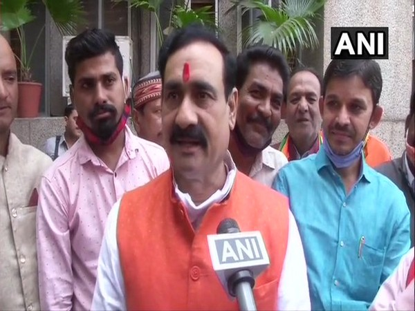 Madhya Pradesh Minister Narottam Mishra speaking to ANI on Tuesday.