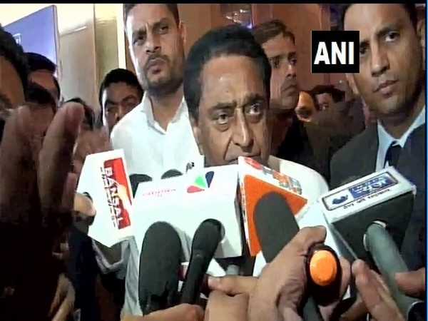 MP Chief Minister Kamal Nath interacting with media persons in Bhopal on Saturday. Photo/ANI