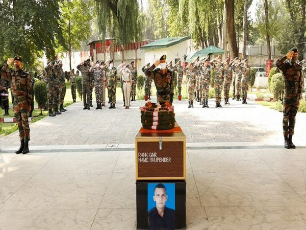 Indian Army on Tuesday paid homage to Gunner Bhupender, who was killed in Pakistan-initiated ceasefire violation in Naugam in Jammu and Kashmir's Kupwara on September 5.
