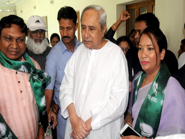 BJD supremo Naveen Patnaik with Sunita Biswal after she joined BJD on Saturday.