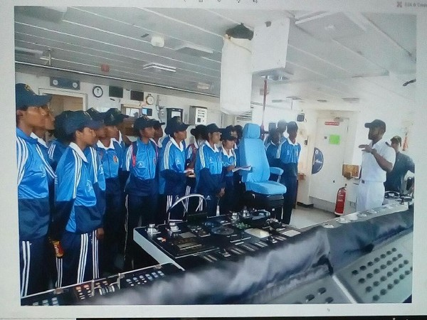 NCC cadets visiting on board Coast Guard Ship Samarth in Goa on Monday.