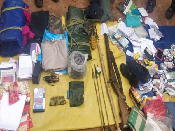 A visual of the items recovered from the Naxal camp in Chhattisgarh.