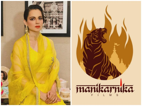 Kangana Ranaut and logo of her production house Manikarnika films (Image courtesy: Instagram)