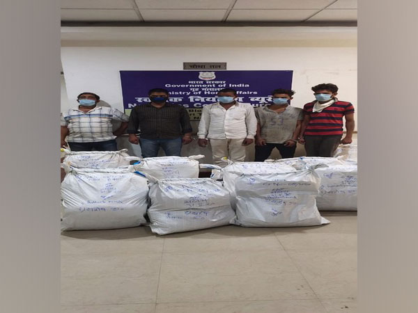 The five accused held with cannabis in Patna, Bihar. (Photo/ANI)