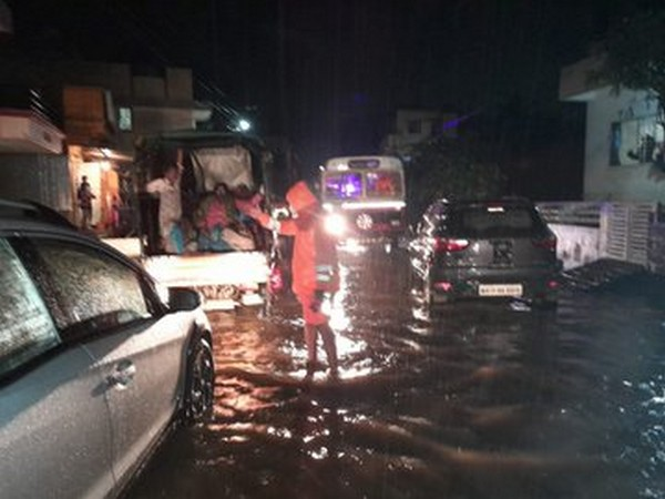 NDRF teams on Thursday night having trouble reaching the affected villages due to waterlogged roads. (Photo/ANI)