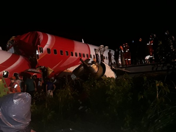 A visual from the incident of the plane crash in Kozhikode, kerala on Friday. (Image Source: NDRF).