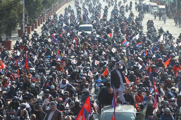 Hundreds of bikers rallied in Nepal's capital Kathmandu on Wednesday in support of caretaker Prime Minister KP Sharma Oli as he calls for a mass assembly this weekend.