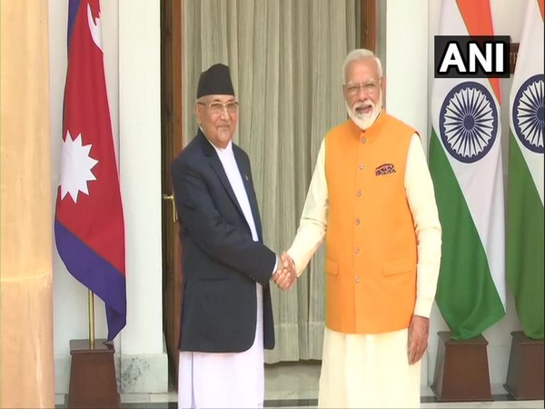 Nepalese PM KP Sharma Oli alongside PM Narendra Modi at the Hyderabad House in New Delhi on May 31 (Photo/ANI)