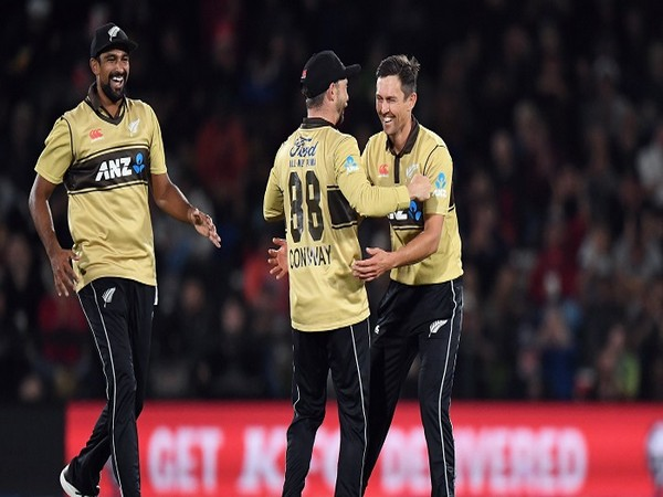 New Zealand players celebrate the fall of an Australia wicket (Image: ICC)