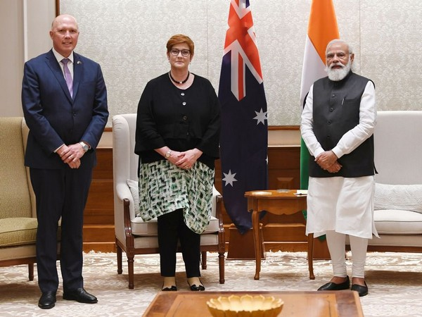 Australian Defence Minister Peter Dutton and Foreign Minister Marise Payne with Prime Minister Narendra Modi.