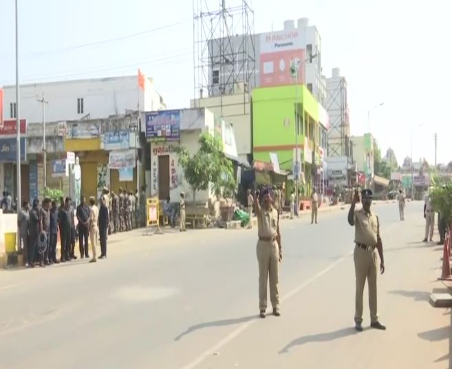 Security beefed up at Mandadam village in Andhra Pradesh's Amaravati on Tuesday. Photo/ANI