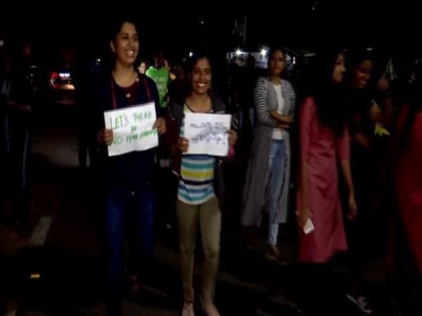 Women participated in night walk on Sunday in Trivandrum