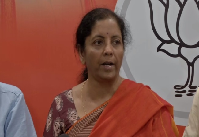 Defence Minister Nirmala Sitharaman speaking at a press conference in New Delhi on Sunday Photo/ANI.