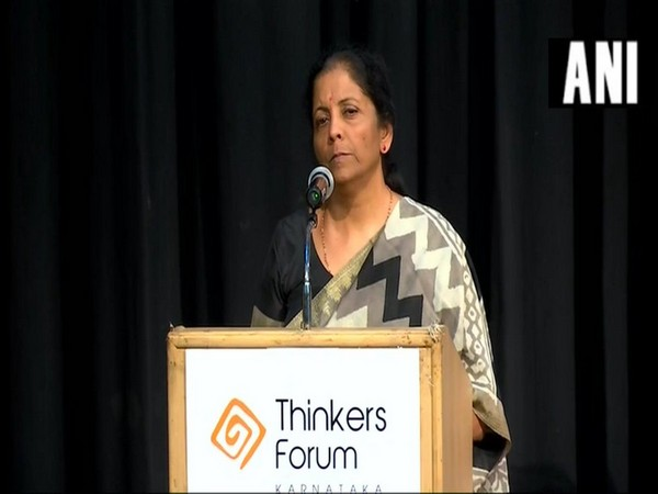Defence Minister Nirmala Sitharaman speaking at an Informal Interaction organised by Thinkers Forum in Bengaluru on Sunday