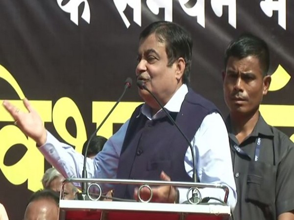 Union Minister Nitin Gadkari speaking at a rally in Nagpur on Sunday