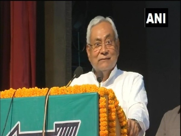 Bihar Chief Minister Nitish Kumar speaking at a meeting in Patna, Bihar on Friday.