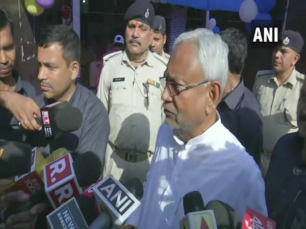 Bihar CM Nitish Kumar speaking to reporters in Patna on Sunday.