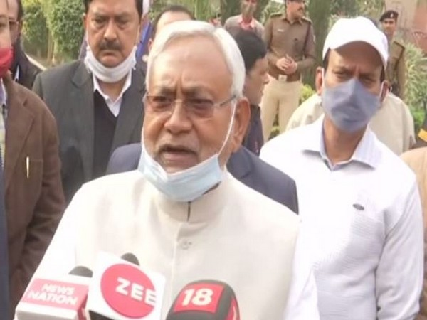 Bihar CM Nitish Kumar on Wednesday visited Patna Police headquarters (PPHQ) and reviewed the law and order situation in the state. (Photo/ANI)