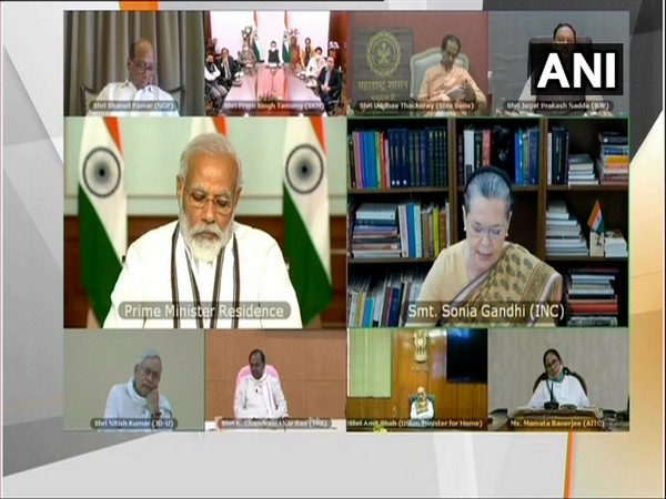 Janata Dal-United (JDU) chief and Bihar Chief Minister Nitish Kumar taking part in all party meeting with PM Modi via video conferencing