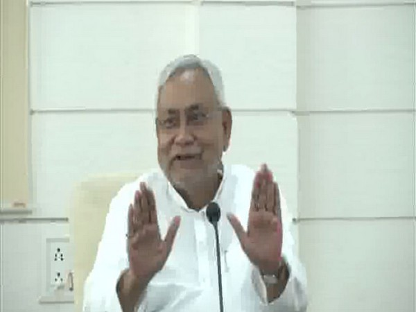Bihar CM Nitish Kumar speaking at a press conference in Patna on Monday. Photo/ANI