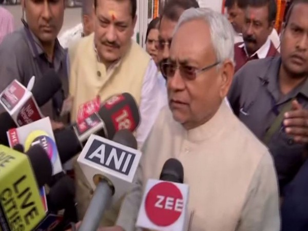CM Nitish Kumar speaking to reporters in Patna on Thursday. Photo/ANI