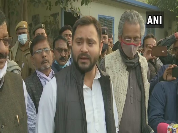 Rashtriya Janata Dal (RJD) leader Tejashwi Yadav speaking to media in Patna on Sunday. (Photo/ANI)