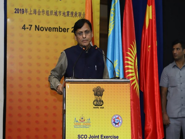 Union Minister NItyanand Rai addressing the valedictory session of SCOJtEx 2019 in New Delhi on Thursday. Photo/ANI