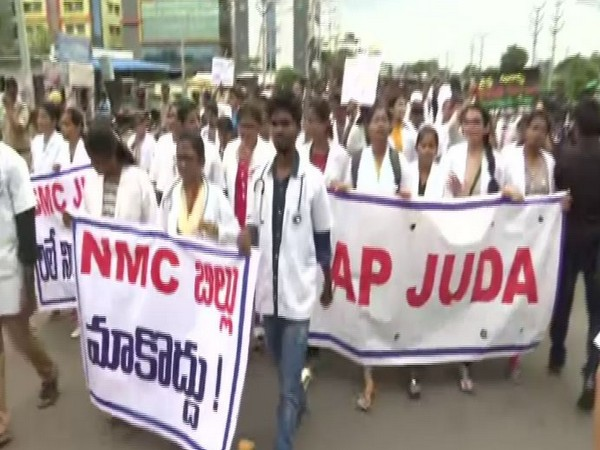 The junior doctors of Siddhartha Medical College in Vijayawada held a rally against NMC Bill on Thursday. Photo/ANI