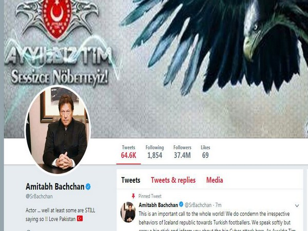 Bollywood actor Amitabh Bachchan Twitter handle hacked image.