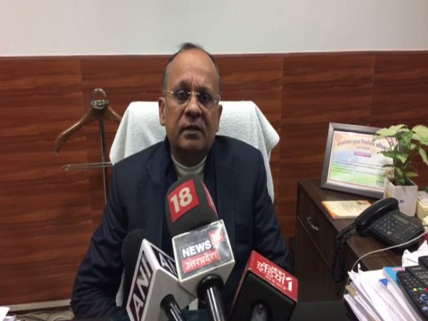District Magistrate BN Singh speaking to reporters in Noida on Wednesday. Photo/ANI