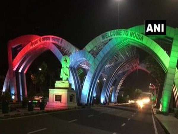 A visual of the Noida entry gate at Delhi-Uttar Pradesh border. (Photo/ANI)