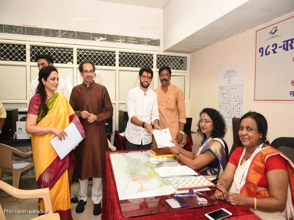 Shiv Sena leader Aaditya Thackeray filing nomination at the office of Returning Officer in Mumbai on Thursday.