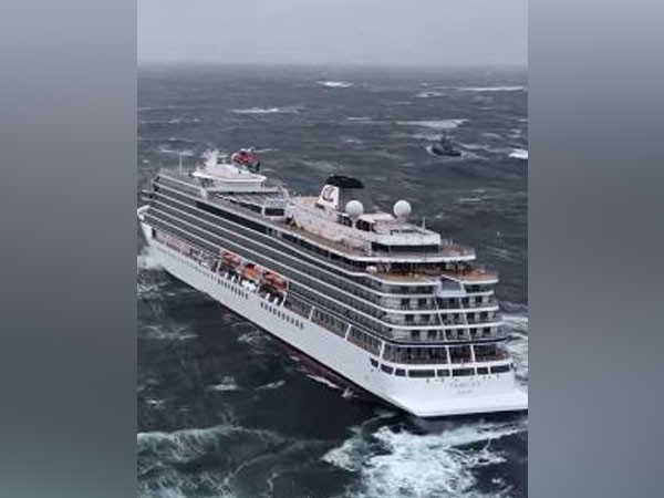 The stranded cruise ship 'Viking Sky' off Norway's coast on March 23 (Image Source: HRS Sør-Norge's Twitter)