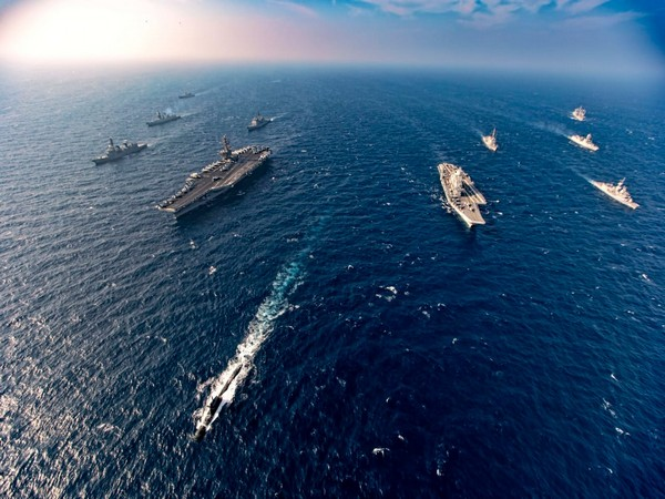 Indian, US, Australian and Japanese warships, carrying out 'Malabar-2020' wargames in the Western Indian Ocean Region.