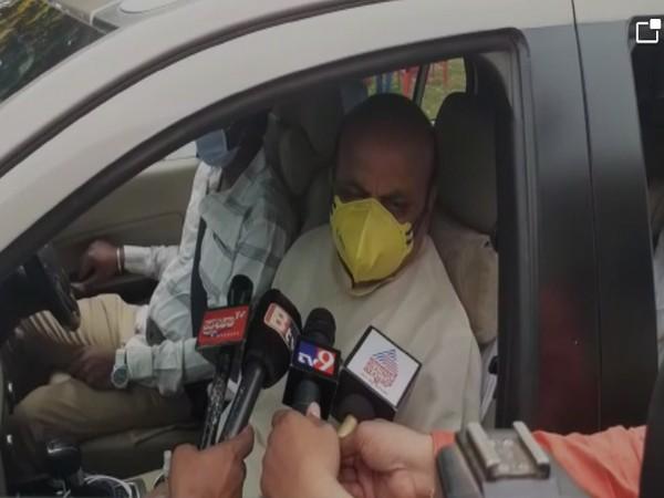 Karnataka Home Minister Basavaraj Bommai speaking to media. (Photo/ANI)