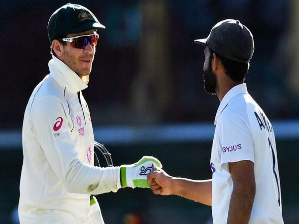 Australia skipper Tim Paine with Ajinkya Rahane (Photo/ cricket.com.au Twitter)