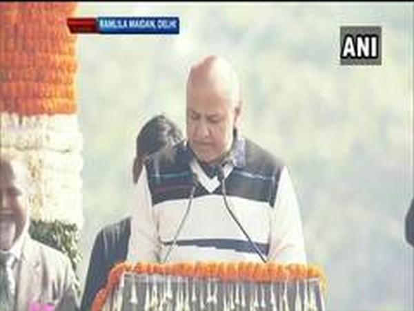 Manish Sisodia taking oath on Sunday.