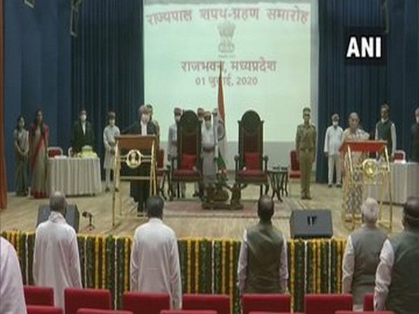Anandiben Patel takes oath as Governor of Madhya Pradesh on Wednesday. (Photo/ANI)